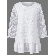 Floral lace layered longline blouse The renowned fashion retailer offers a . - Floral lace layered longline blouse The renowned fashion retailer offers a large selection of women - Fashion Sale, Fashion Outfits, Womens Fashion, Fashion Clothes, Fashion Fashion, Pretty Outfits, Beautiful Outfits, White Lace Blouse, Beautiful Blouses