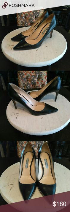 mEmOrIaL dAy SaLe!!! Prada-Classic Black Pump Now this is a must for every girl out there!!! Have to have your go-to black pump to wear with anything, and if it's Prada then it's amazing!!! Sleek, Chic, and can be worn for any occasion😉😊Worn a handful of times but in great condition with some wear on the leather sole (picture above) but other than that there are no scuffs or stains anywhere!!! Let's make some offers Ladies!!!😉😊😁😍😎👠 Prada Shoes Heels