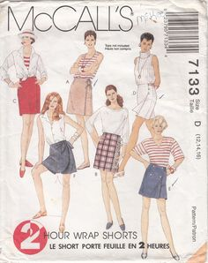 eeca70ce3ca2 McCalls 7133 Culottes Pull On Shorts With Front by CedarSewing Mccalls Sewing  Patterns