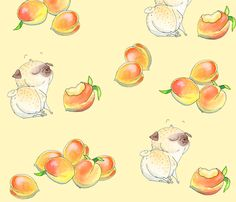 Peaches and Pugs (scattered version) fabric by inkpug on Spoonflower - custom fabric