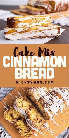 This Yellow Cake Mix Cinnamon Bread is delicious and easy to make using boxed yellow cake mix! This recipe make 2 marbled loaves. Made with yellow (or white) cake mix, milk, cinnamon and brown sugar topped with icing. Perfect weekend breakfast or brunch. This bread is light, fluffy and super moist. Top with icing to make it a delicious dessert. Or enjoy without icing. Your choice. Kid friendly and easy for kids to make too. Learn how to make this homemade bread watch the how-to video! Cake Mix Desserts, Cake Mix Recipes, Best Dessert Recipes, Delicious Desserts, Holiday Recipes, Quick Bread Recipes, Muffin Recipes, Baking Recipes, Easy Recipes