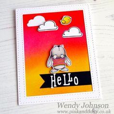Card made using MFT Snuggle Bunnies and distress inks