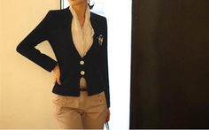 Two Button Long Sleeve Small Tailored Blazer