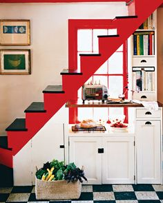 Bold red staircase with storage underneath #ExpressYourself
