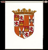 Pendón Real de los Reyes Católicos (1492) Spain History, Art History, Naval History, Family Crest, Floral Border, Coat Of Arms, Middle Ages, Flags, Badge