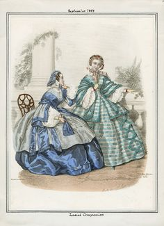Ladies' Companion, September 1858. LAPL Visual Collection.  Civil War Era Fashion Plate