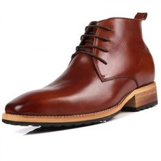 Top grain leather men elevator tall boot add height 8cm / 3.15inch brown British business boots