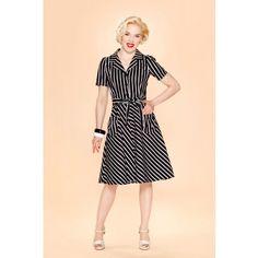 Very Cherry - Revers dress Black/white stripes