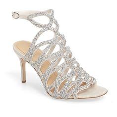 Women's Imagine By Vince Camuto Plash Glitter Cage Sandal (240 AUD) ❤ liked on Polyvore featuring shoes, sandals, heels stilettos, stilettos shoes, wrap sandals, high heel stilettos and stiletto heel sandals