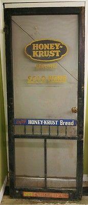 vintage Honey-Krust Bread screen door push/advertisment