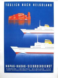 HAPAG-HADAG-SEEBÄDERDIENST. Buques Bunte Kuh (1957) y Wappen von Hamburg (1965)