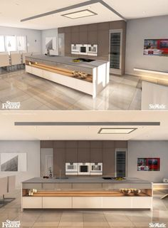 A stunning rendering of a SieMatic kitchen in warm tones and pure lines by Stuart Frazer in the UK