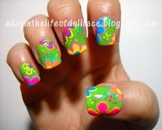 Peekaboo the Turtle - Lisa Frank series - Nail Art Gallery by NAILS Magazine Cute if this was in my colors Cute nails! Get Nails, How To Do Nails, Hair And Nails, Hippie Nails, Hippie Nail Art, Nailart, Painted Nail Art, Funky Nails, Flower Nail Art