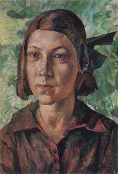 The girl in the garden, 1927  Kuzma Petrov-Vodkin