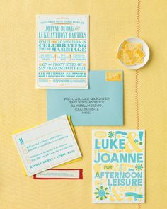 This effervescent letterpress invitation suite boasts a bright palette.