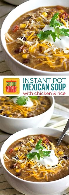 Like a taco in a bowl! The southwestern flavors in our Instant Pot Mexican Chicken and Rice Soup will warm you up and satisfy your taste buds too! A delicious dinner that's easy to make and sure to become one of your family's favorite comfort food soup recipes!#SundaySupper #ComfortFoodRecipes #SoupRecipe