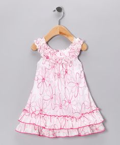 Take a look at this White & Fuchsia Floral Yoke Dress - Toddler & Girls by Pink Vanilla on #zulily today!