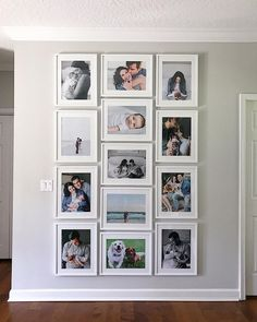 I like the clean rectangle shape of all pic's combined. Will use and pic's only, both vertical and horizontal. Like the uniform look of the frames being same size, so maybe the pic openings can just have more of a frame? Family Wall Decor, Photo Wall Decor, Living Room Decor, Gallery Wall Layout, Frame Gallery, Photo Displays, Picture Wall, Picture Frames, Frames On Wall