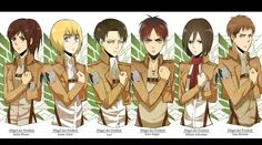 Attack on Titan - Sasha, Armin, Levi, Eren, Mikasa, and Jean