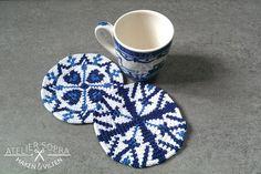 6 Tapestry coaster crochet patterns Delft blue door AtelierSopra