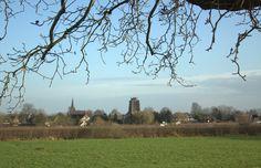 Het dorp Beesd, gezien vanuit het Zuidelijker gelegen dijkdorp Rumpt. Beesd en Rumpt behoren allebei tot de Gemeente Geldermalsen in de Betuwe. En deze drie plaatsen liggen gebroedelijk aan de mooie rivier de Linge, de langste rivier van Nederland binnen de lands grenzen, het is maar dat je het weet. Kijk maar eens op: www.Plaatsengids.nl/Beesd