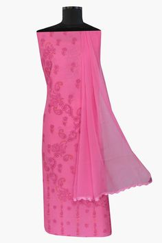 Ada #handembroidered  #peach  #cotton #lucknowi  #chikankari  Unstitched Suit Piece- A265215