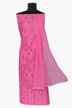 Ada #handembroidered  #peach  #cotton #lucknowi  #chikankari  Unstitched Suit Piece- A265215