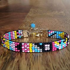 Bead loom Bracelet black string and beads