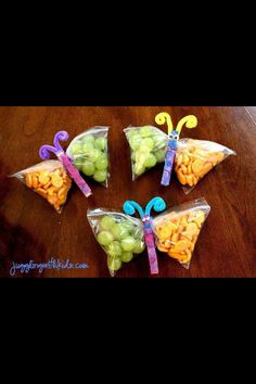 Snack bag with a clothespin in the middle to make it look like a butterfly. Healthy kid snacks