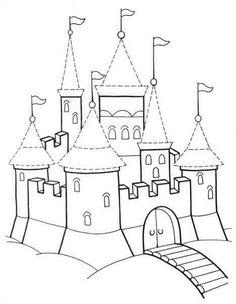 """MY Sandbox: Téma """"Rytíři a hrady"""" Projects For Kids, Diy For Kids, Colouring Pages, Coloring Books, Elven City, Castle Painting, Mexican Embroidery, Château Fort, Vintage Crafts"""