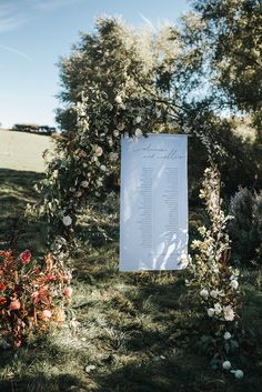 Fabric table plan hanging from a floral arch on a rustic outdoor styled wedding shoot. Wedding Shoot, Wedding Table, Wedding Day, Wedding Planner, Destination Wedding, Spanish Wedding, Floral Arch, Wedding Reception Venues, Wedding Fabric
