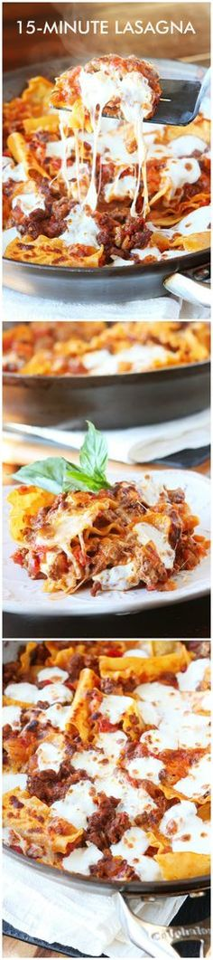 Easiest Ever 15-Minute Lasagna. This is the best lasagna ever because you cook everything in just ONE skillet on the stovetop in 15 minutes! Perfect for a hearty, home-cooked meal on busy weeknights! You don't even have to pre-boil the noodles. I'll never make lasagna the old fashioned way again!