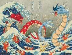 """""""The great wave off Kanto, by 'missypena'"""" – Can someone turn this into a wallpaper? is preferred - Pokemon Ideen Pokemon Tattoo, Pokemon Fan Art, Pokemon Luna, Gif Pokemon, Pokemon Fusion, Pokemon Cards, Gyrados Pokemon, Pokemon Gyarados, Japanese Art"""