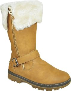 KOZI Women WINTER Boots SG4478 Fur Lining with a Round Toe Camel 40M