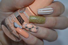 I'm might be unpretty but at least I'm well polished   A nail art blog. #nails #nail #nailpolish #nailart #bourjois #orange #gold #nude #beige #roses #flowers #leaves #glitter #stripes