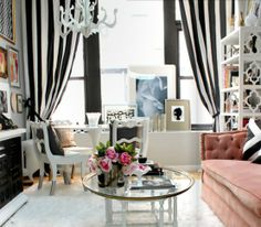Black and white living room - vertical stripes make the ceiling look higher. and white decorating before and after home design interior design 2012 room design Eclectic Living Room, Living Room Grey, Home And Living, Living Room Designs, Living Spaces, Living Rooms, Modern Living, Small Living, Home Modern