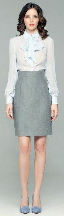 Dressed For Work In White Bow Blouse And Grey Pencil Skirt