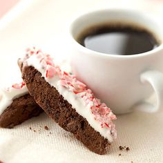 Double-Chocolate Peppermint Biscotti     One of the yummiest flavor combinations --chocolate and mint -- come together in this biscotti recipe. Crushed peppermint candy makes a pretty topper.