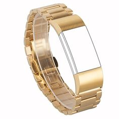 Wearlizer Lux Metal Link Bracelet Bands with Butterfly Closure for Fitbit Charge 2   Gold ** Read more reviews of the product by visiting the link on the image.