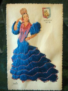 MALAGA vtg embroidered POSTCARD Spain Spanish woman ethnic flamenco dancer