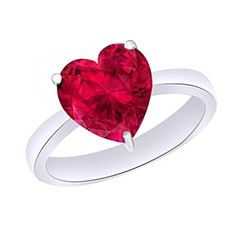 4.25 Ct Heart Cut July Birthstone Ruby 9K White Gold Solitaire Ring by JewelryHub on Opensky