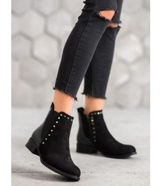 Original SHELOVET women's boots will be an interesting addition to many everyday stylizations. The front of the upper is made of suede leather-like material decorated with silver Heeled Boots, Shoe Boots, Shoes, Winter Heels, Types Of Heels, Fashion Seasons, Black Booties, Suede Leather, Booty