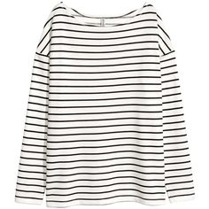 Long-sleeved Jersey Top $17.99 (£14) ❤ liked on Polyvore featuring tops, white striped top, striped boatneck top, slit tops, short tops and white boatneck top