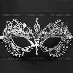 Charming Princess Laser Cut Venetian Silver Masquerade Mask with Diamonds