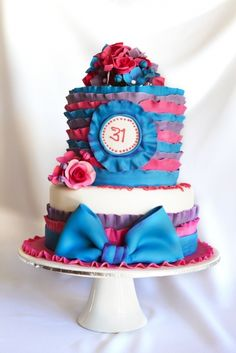 frills bow birthday cake