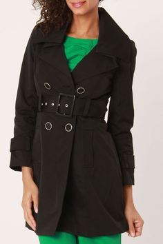 Blanc Noir Faye Trench Coat In Black - Beyond the Rack