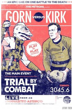 "Star Trek Iron Gut Introduces ""Gorn Vs. Kirk"" Giclee.  Awesome."