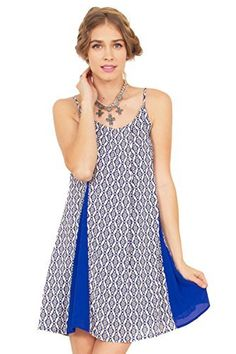 The Sugarlips Long Journey Dress is an abstract printed dress with cobalt blue insets that add a nice pop of color. Price : $59.00 #MyLuluCloset #Sugarlips #NewArrivals