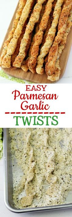 Easy Parmesan Garlic Twists - Easy Parmesan garlic breadsticks made by twisting puff pastry, smothering it in cheese, and baking. Flaky, crunchy, buttery and delicious. Best Italian Recipes, Favorite Recipes, Garlic Twist, Yummy Treats, Yummy Food, Freezer Friendly Meals, Fett, Food Inspiration, Cooking Recipes