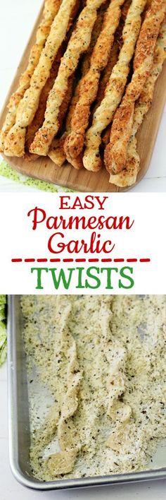 Easy Parmesan Garlic Twists #breadsticks